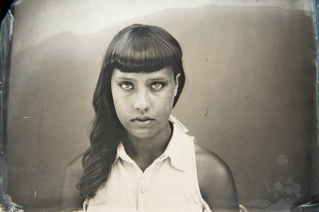 modern tintype of a girl