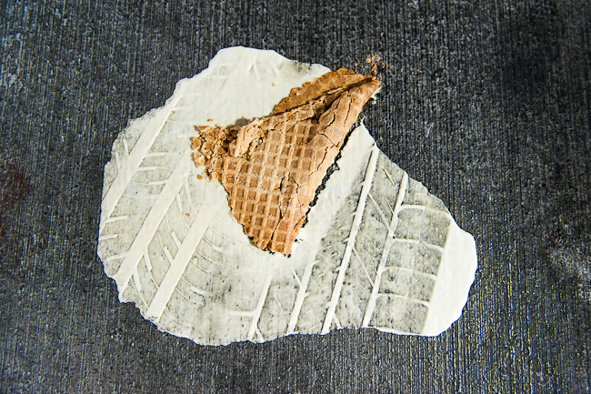 crushed ice cream waffle cone