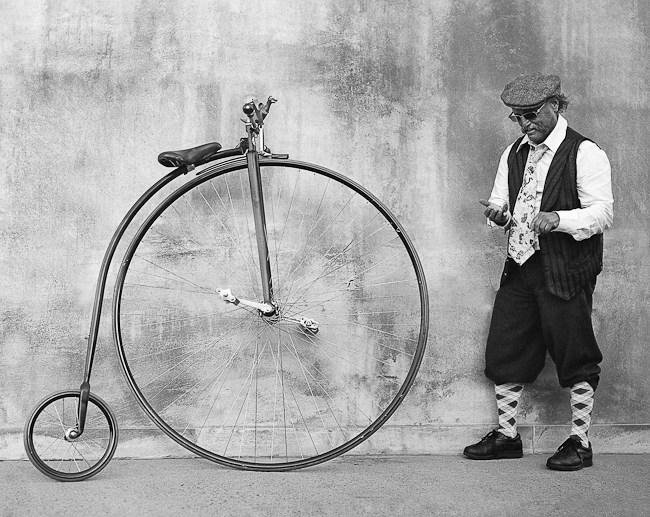 Ricky and his penny-farthing